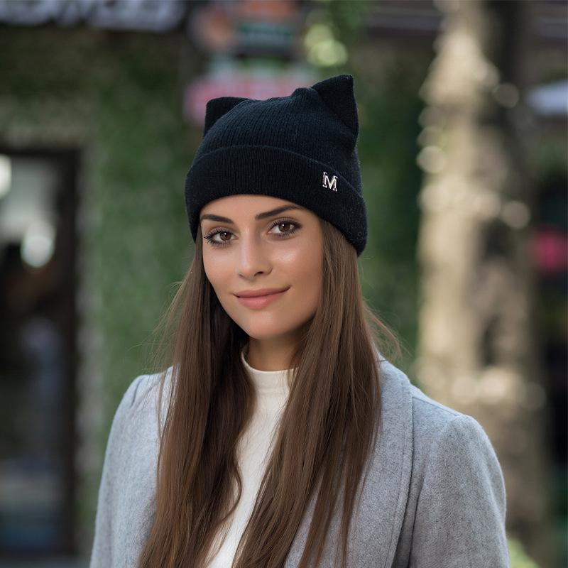 411746d966150 2019 Women S Hats Winter Europe And America Cute Fashion Casual Warm New  Cat Ears Knitted Wool Hats A Variety Of Colors Optional From Fotiaoqia