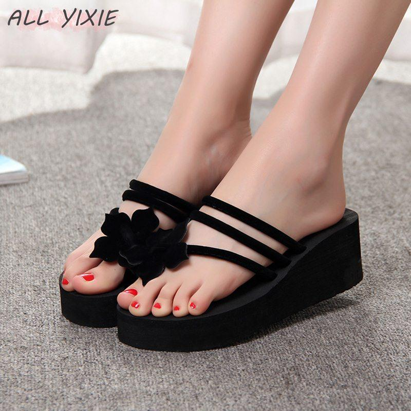 9ee504cde5 ALL YIXIE 2019 Wedge Sandals Women High Heeled Sandals Fashion Straped  Slippers Beach Flip Flops Women Many Colors Boys Slippers Acorn Slippers  From ...