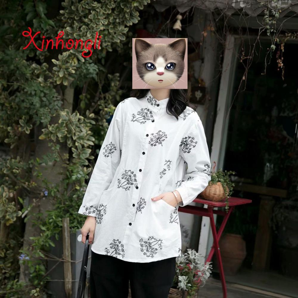 2019 Plus Size Cotton Embroidery Stand Collar Women Blouse 2019