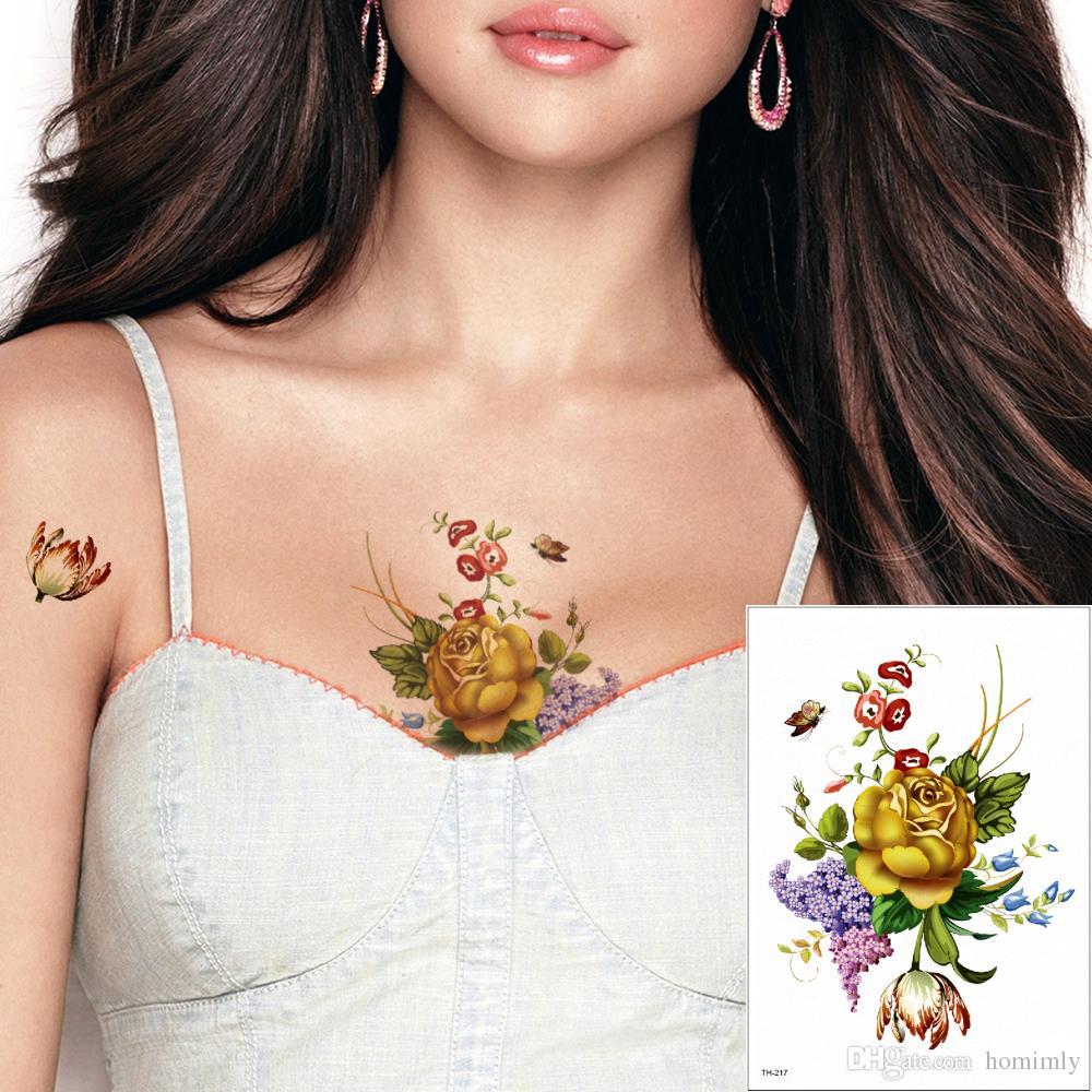Acheter Floraison Jaune Rose Fleur Temporaire Tatouage Autocollant