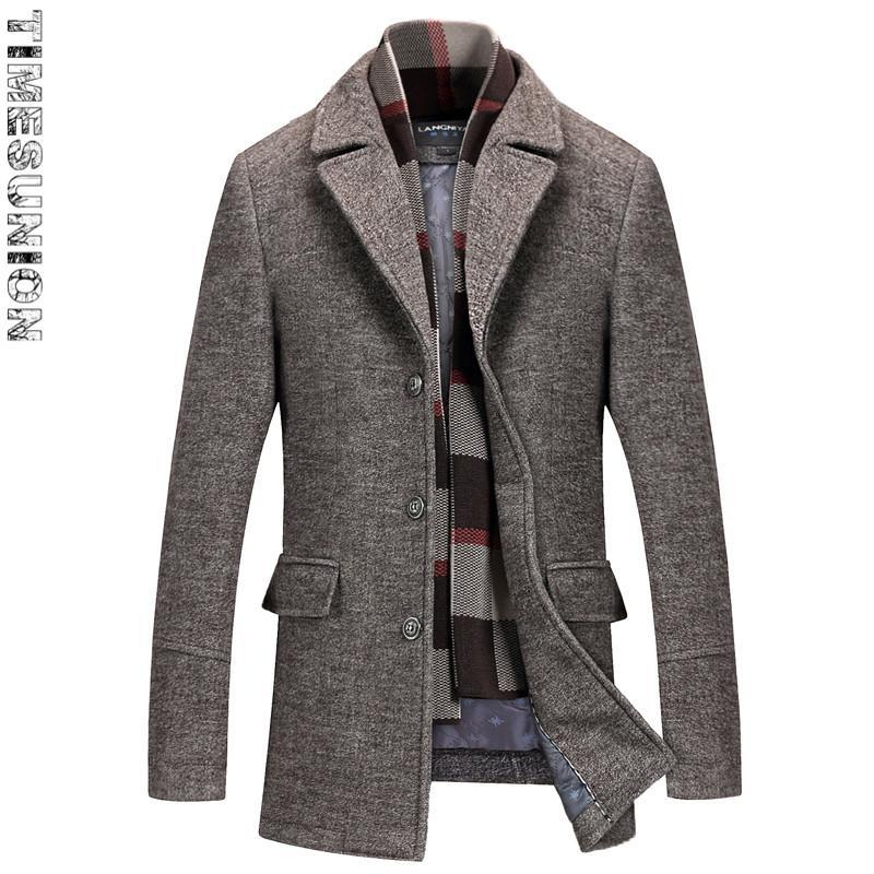 Acquista Cappotti Uomo Inverno 2018 Cotone Spesso 50% Giacche Di Lana Mens  Cappotti Collo Sciarpa Collo Moda Slim Fit Giacche Di Nylon Jaqueta Outwear  A ... bd536d04da9