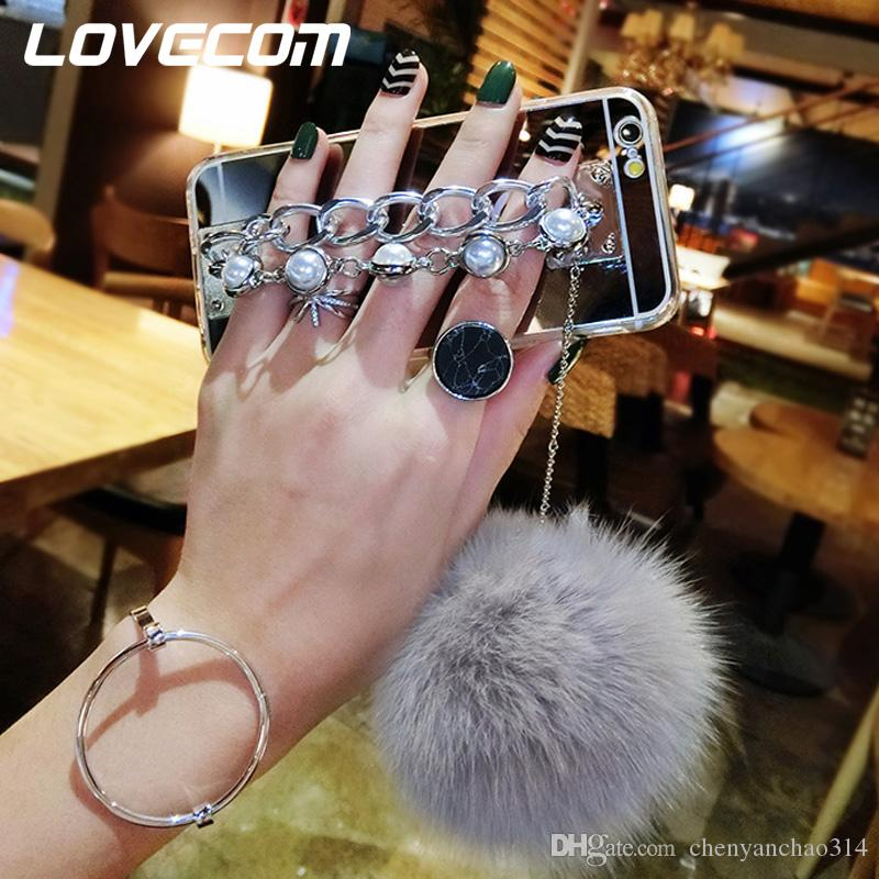 For iPhone 6 6S Plus 7 7 Plus 5 5S SE DIY Luxury Fur Ball Double Metal Pearl Chain Buckle Soft TPU Mirror Phone Cases