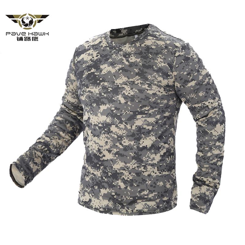 2018 New Tactical Military Camouflage T Shirt Men Breathable Quick Dry Us Army Combat Full Sleeve Outwear T-shirt For Men S-3xl C19041301