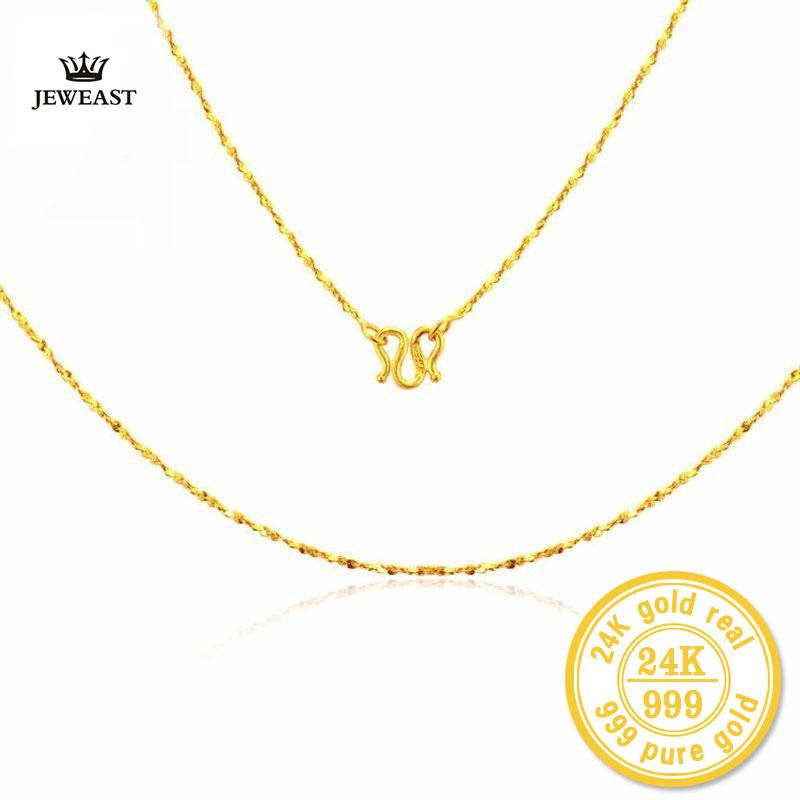ZZZ 24k Pure Gold Star Necklaces Romantic and Beautiful Smooth Line Design Classic &Fashion Exquisite Polishing Proces 999Solid