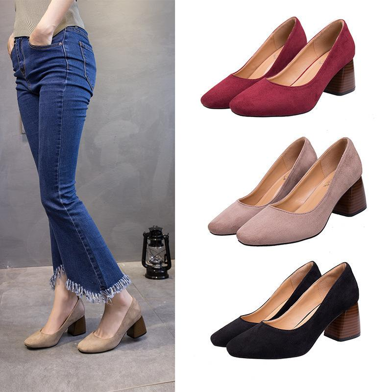 da1c11cb07 Designer Dress Shoes Lianhuaxiang Spring Autumn Women Pumps Shallow Mouth  Sweet Ladies Fashion Woman Thick High Heels Female Working Shoe Mens Boots  Shoe ...