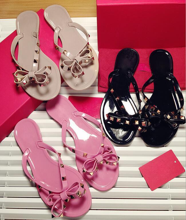 7b02a2bdc Hot Sale Fashion Summer Flip Flops Woman Rivets Women Sandals Bow Knot Flat  Slippers Girls Studded Cool Beach Slides Jelly Shoes 35 41 Cheap Boots High  Heel ...