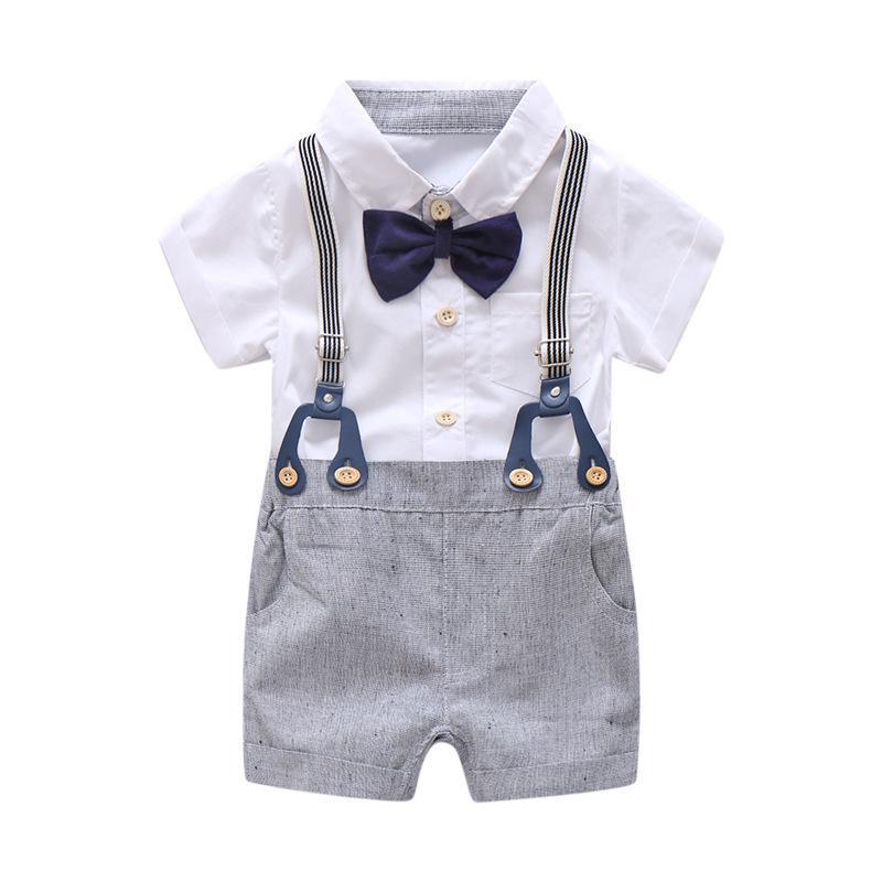 137c21e68 Compre Conjunto De Ropa Formal De Verano Para Bebé Recién Nacido Conjunto  Arco Traje De Cumpleaños Para La Boda Niños Traje General Camisa De  Mameluco ...