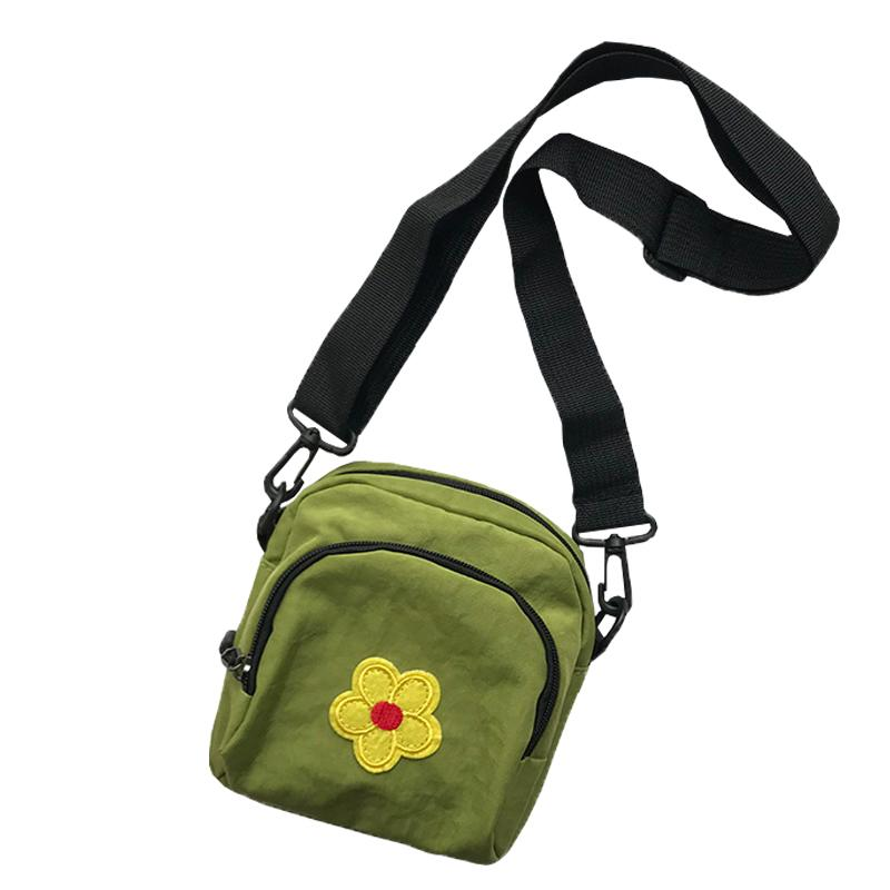 New Korean Style Small Messenger Bags Flower Pattern Cute bag Woman kawaii Mini Shoulder Bag Casual Street Snap Bags Green