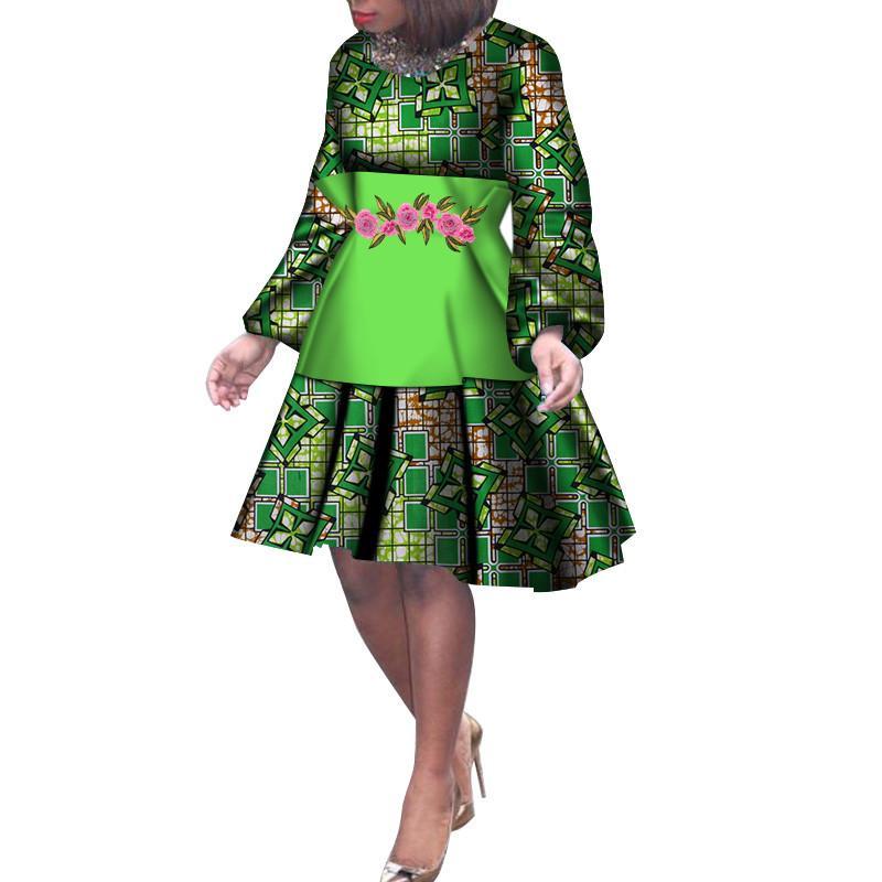 787eee0d21977a Fashion Lange Mouwen Afrikaanse Jurken Voor Vrouwen Afrikaanse Wax Print  Bazin Riche Hoge Taille Jurk Lady Grote Maat Midi Jurk WY214 Floral  Sundresses Shop ...