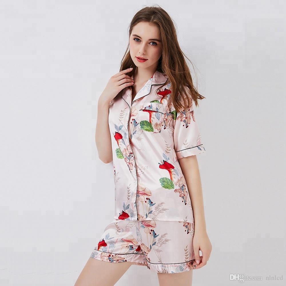 bad52807cbe 2018 China new style high quality comfortabie pajamas summer woman s night  wear ladies 100% silk pajamas