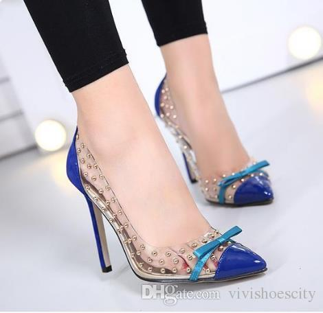 20034a154dc Size 35 To 40 41 Sexy Orange Blue PVC Transparent High Heels Rivets Studded  Shoes Pointed Pumps Dress Shoes High Heels Heels From Vivishoescity