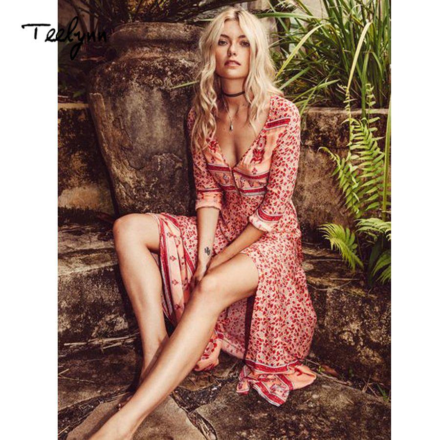 b7c1137140b17 Teelynn Long Boho Dress Rayon 2019 Floral Print Sexy V-neck Hippie Summer  Dresses Chic Beach Women Dress Bohemia Wrap Dresses Y19053001