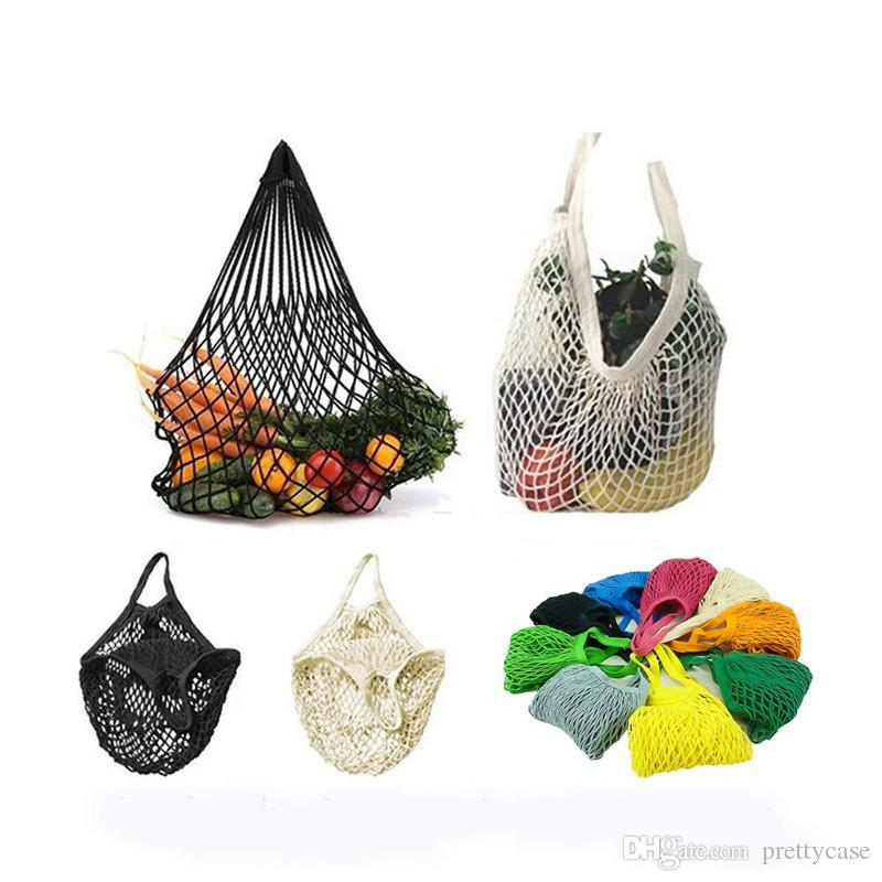 Reusable Produce Bag Foldable Shopping Grocery Bags Cotton Mesh Market String Net Shopping Hand Totes Fruits Vegetables Hanging Bags