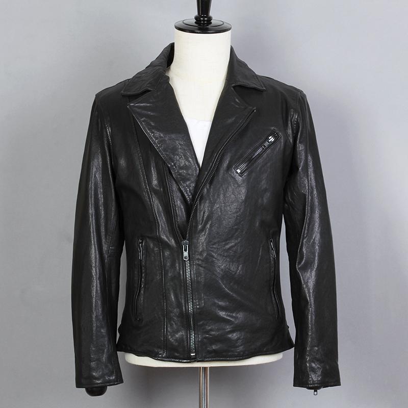 6c9432af9 2018 Fashion Genuine Leather Jacket Men Slim Fit Short Black Sheepskin Real  Leather Coat Lapel Motorcycle Biker Clothing