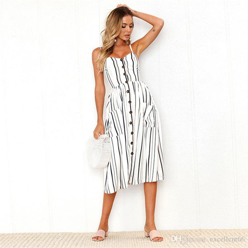 2019 summer new small fresh sling striped floral row buckle dress one word collar strapless fashion women's clothing