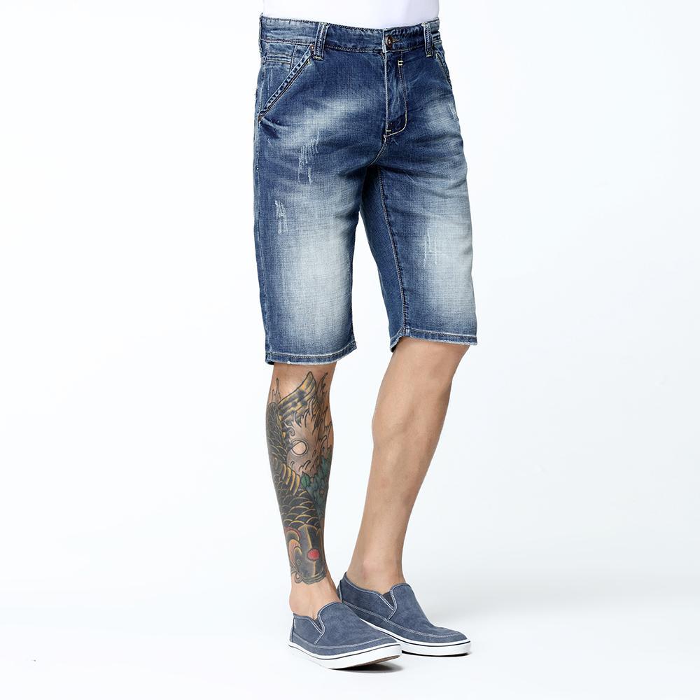 5e54adcf9e7dfa Acquista Pantaloncini In Denim Da Uomo SYT Nuovo Arrivo Estate Al Ginocchio Jeans  Slim Tessuto Stretch Lavabile Scuro Cotone Traspirante V7S1S003 A $48.53 ...