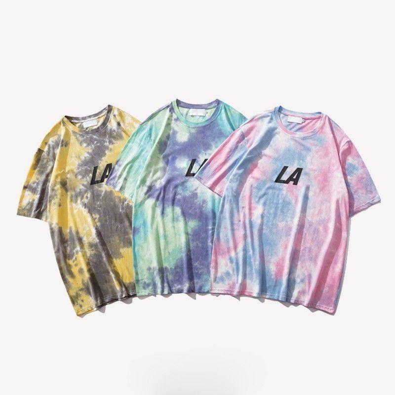 b7c1e186 19SS Tie Dye Gradient Holiday T Shirt Hip Hop Fashion Men Women Summer Tee  Classic Street Skateboard Breathable Short Sleeves Tee HFYMTX526 T Shirts  For T ...