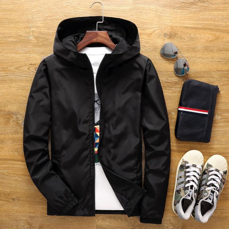 S to 7XL plus size pure color men women jacket hip hop Rapper Bboy DJ MC dancer zipper windbreaker hooded jacket coat