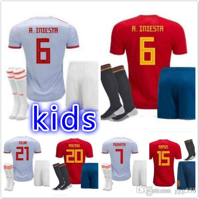 2018 World Cup Spain Soccer Jersey Kids Kit 2018 Spain Home Red ... a158b3608