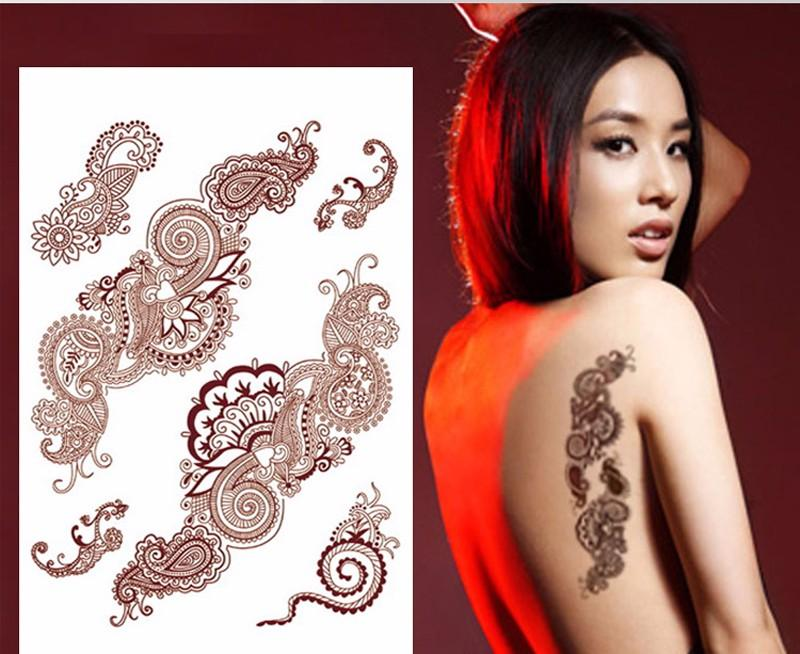 new book series Temporary Tattoos arm/back/body paint tattoo sticker for henna mehendi brown lace tattoo tatuagem party