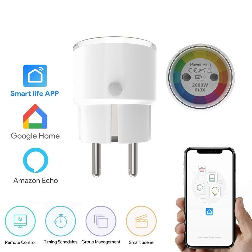 Tuya Life Mini Smart Socket Wifi Eu Plug 2000w 10a Power Outlet Timer  Switch Voice Control Work With Alexa Google Ifttt J190522