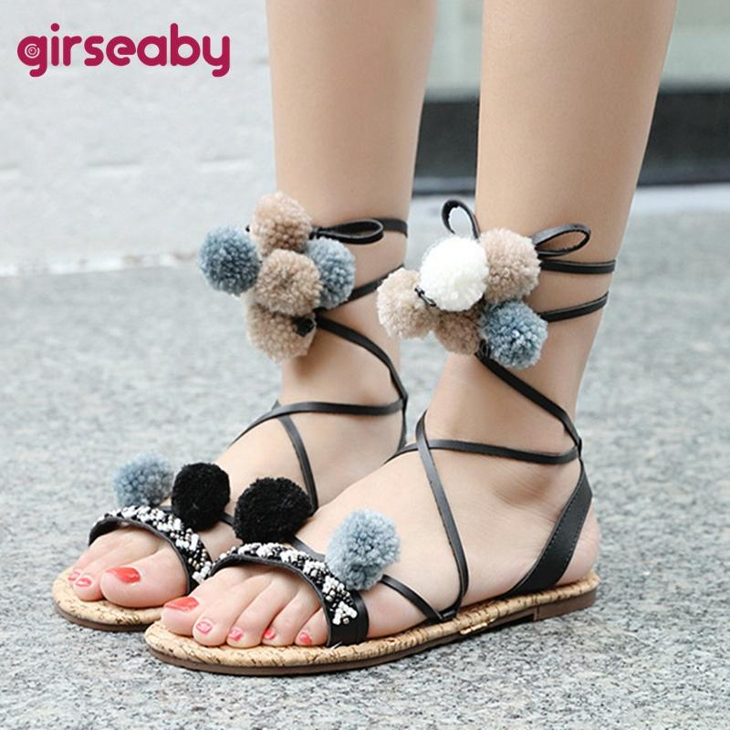 353ed1ae5ebe9 Girseaby Ethnic Style Flat Sandals Women Summer Beach Sandals Cute Ladies  Girl Flip Flops Gladiator Flats Shoes Black Size35 40 Discount Shoes  Platform ...