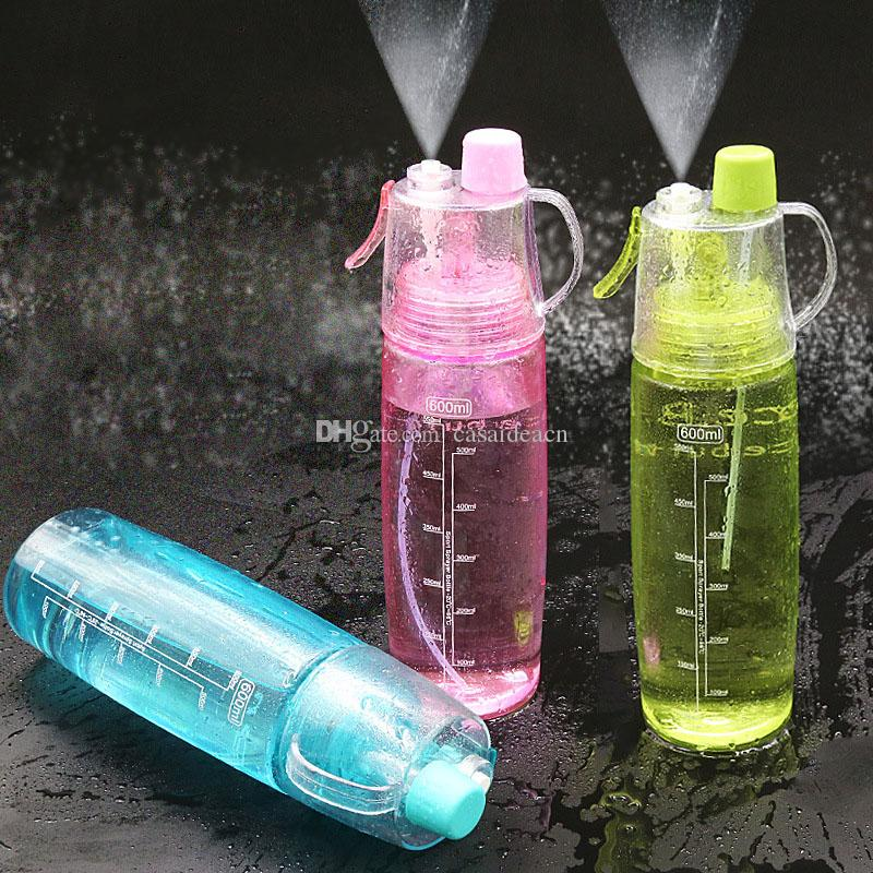 a86f437d19fb Creative Mist Spray Water Bottle Leak Proof Cooling Plastic Bottle Portable  Sports Drinking Bottle Blue Green Pink 500ml 600ml