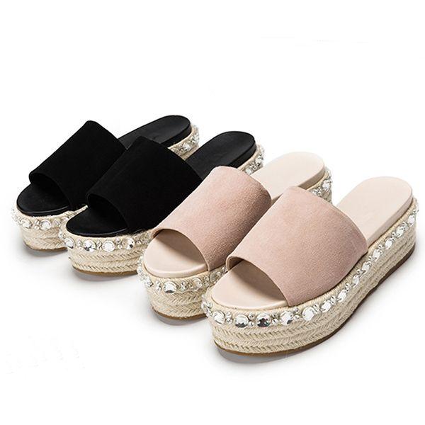 f832bbcb51 2019 Crystal Women Flat Sandals Fisherman Espadrilles Sandals Luxury  Rhinestone Platform Sandals Women Summer Slide Shoes