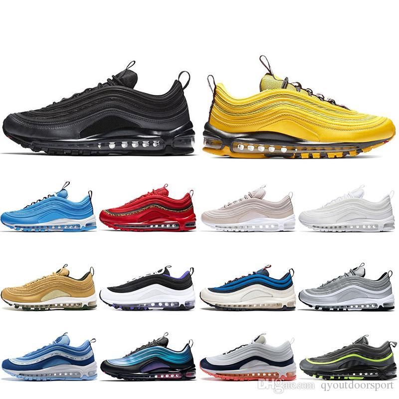 Nike Air Max 97 Off White 2019 Nuevos Hombres Cojín Transpirable Zapatos casuales bajos SE Triple blanco negro South Beach Persa Violeta Masaje