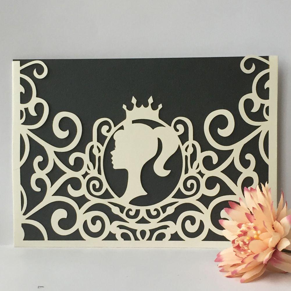 Lovely Princess Wedding Invitation Cards Envelope Angel Girl
