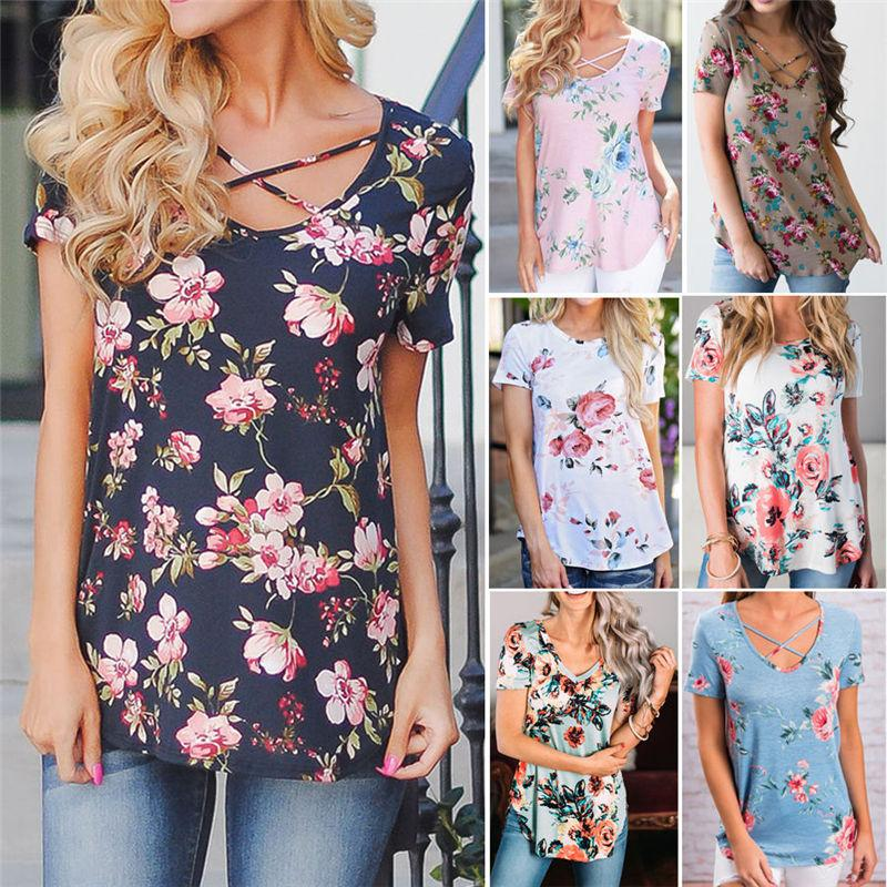 846d509bec Women Tshirt Floral Print Tees Hot Sale Summer Women Tops Casual ...