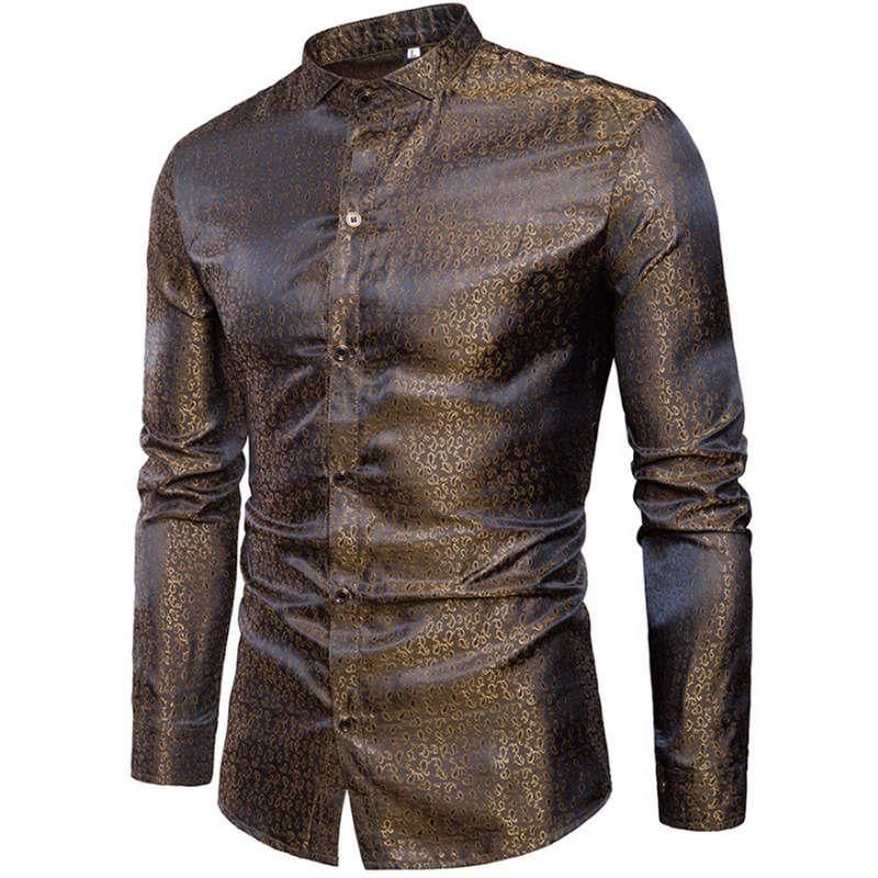 d3d35af50 2019 Mens Silk Satin Dress Shirt 2019 Fashion Swallow Collar Long Sleeve  Shirt Men Nightclub Party Wedding Casual Chemise Homme From Frenzen, ...