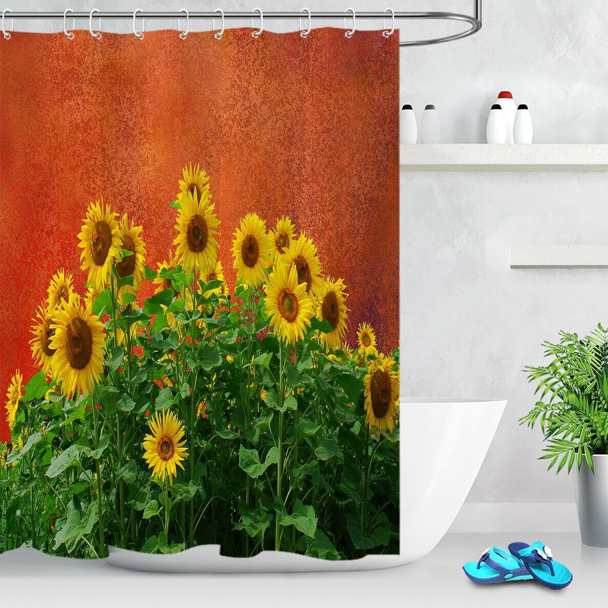 Sunflower Flower Red Wall Shower Curtain Bathroom Durable Fabric Mildew Bathroom Accessories Creative With 12 Hooks 180x180cm