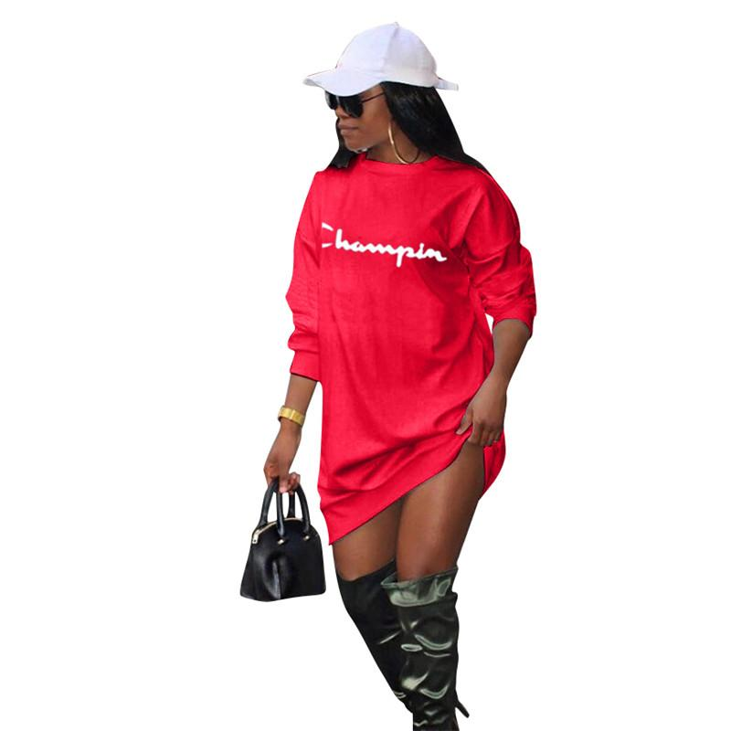 Champion Womens Hoodie Dress Long Sleeve Blouses Oversize Loose Sports Casual Tops Overalls Ladies Home Clothes Sportswear A422