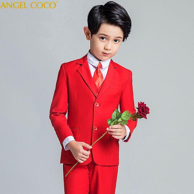 4d6abfdd73050 Satın Al 2019 Yeni Moda Kırmızı Bebek Erkek Takım Elbise Çocuklar Blazers  Boy Suit Düğün Için Balo Örgün İlkbahar Sonbahar Gelinlik Erkek ..., $74.38  ...