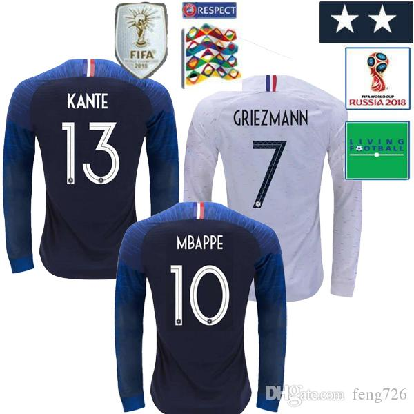 997ed3b7e 2018 World Cup French Home MBAPPE Long Sleeve Football Shirt 18/19 ...