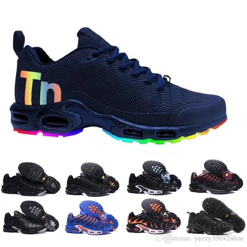 buy popular 633b4 e2b61 2018 NEW TN Bottom Women Men Rainbow Red Black White Light Breathable Air  Cushion Sneakers Plus Walking Trainer Running Shoes EUR SZ36 45 Woman  Running ...