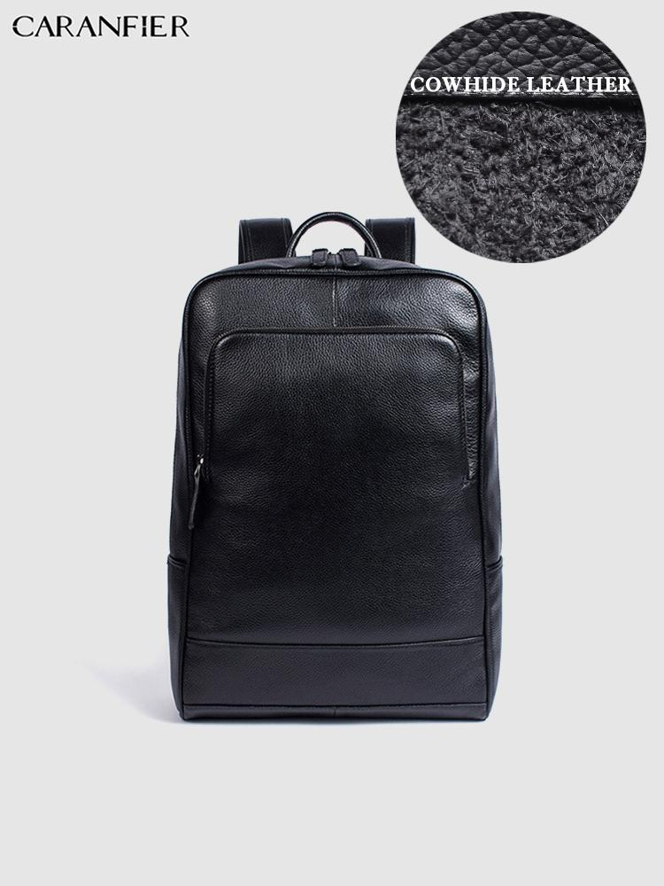 CARANFIER Backpacks Mens Womens Top Genuine Cow Leather Laptop ... 95aba3168eec6
