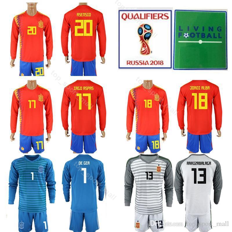 fd4f9c6b78d 2019 Long Sleeve Spain Jersey Set Men Soccer 18 JORDI ALBA 17 IAGO ASPAS 5  BUSQUETS 20 ASENSIO 8 XAVI Football Shirt Kits From Top_sport_mall, ...