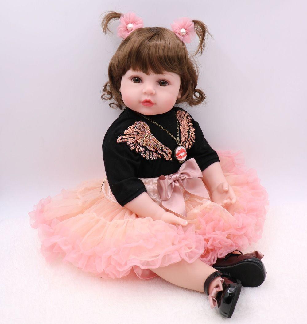 fd4bd9385afe53 Tamanho grande 60 cm silicone reborn baby doll toys 24 polegada vinil  princesa criança menina bebês boneca de alta qualidade presente bebe reborn
