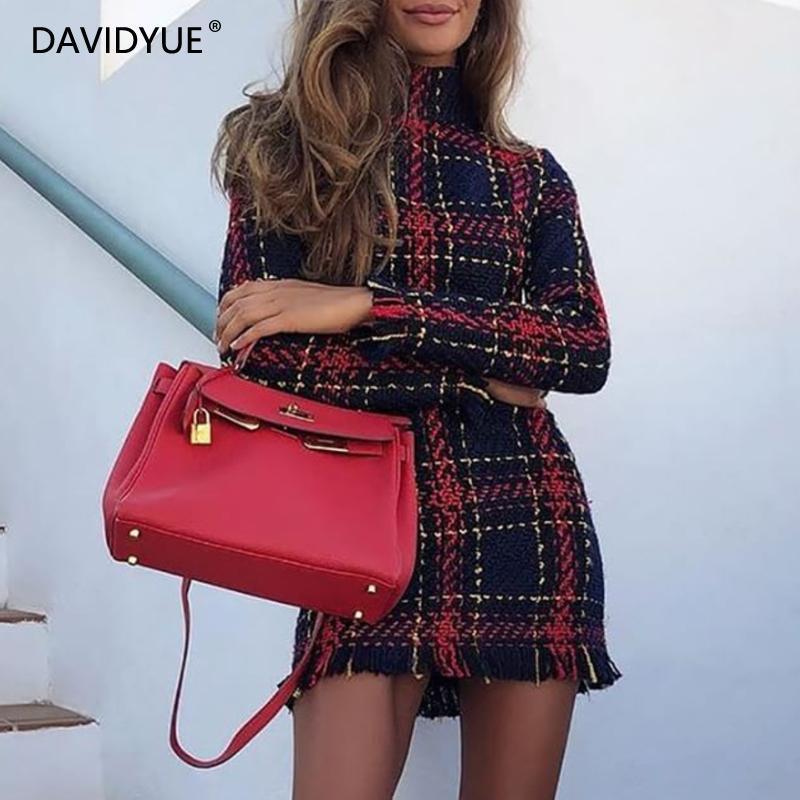b6ef3de53fe Acheter Hiver Manches Longues Robe Femmes Tweed Robe Rouge À Carreaux Casual  Col Roulé Mini Coréen Vestidos Streetwear Robe Noel Femme De  30.6 Du ...