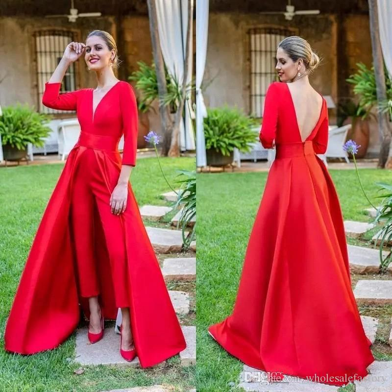 Red Deep V Neck Jumpsuit Evening Dresses 2019 Long Sleeves Ruched Backless Floor Length Formal Party Prom Dresses With Over Skirts