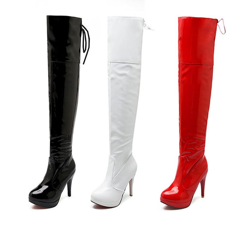 2796576bef7 Compre 2018 Nuevas Mujeres Sexy Stiletto Sobre La Rodilla Botas De Charol  Tacones Altos Muslo Botas Altas Invierno Mujer Zapatos Rojo Negro Blanco A   52.04 ...