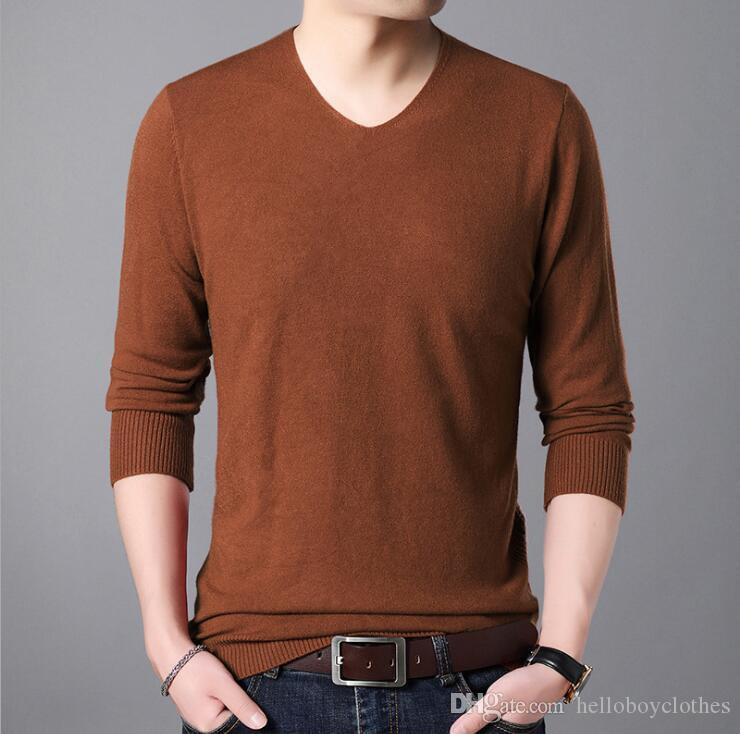 b512807c40 2019 New Autumn Fashion Men Sweater V Neck Thin Sweater Korean Youth Solid  Color Wild Shirt From Helloboyclothes