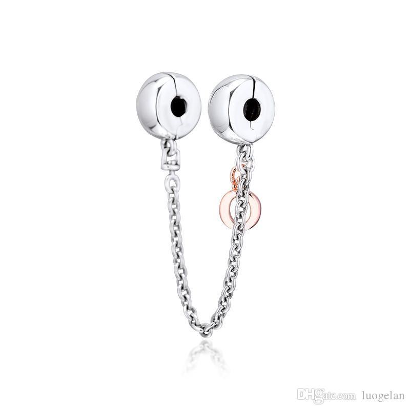 2019 Оригинал 925 ювелирных изделий стерлингового серебра Корона O цепь безопасности Клип Charm Beads Подходит для европейских Пандора браслеты для женщин