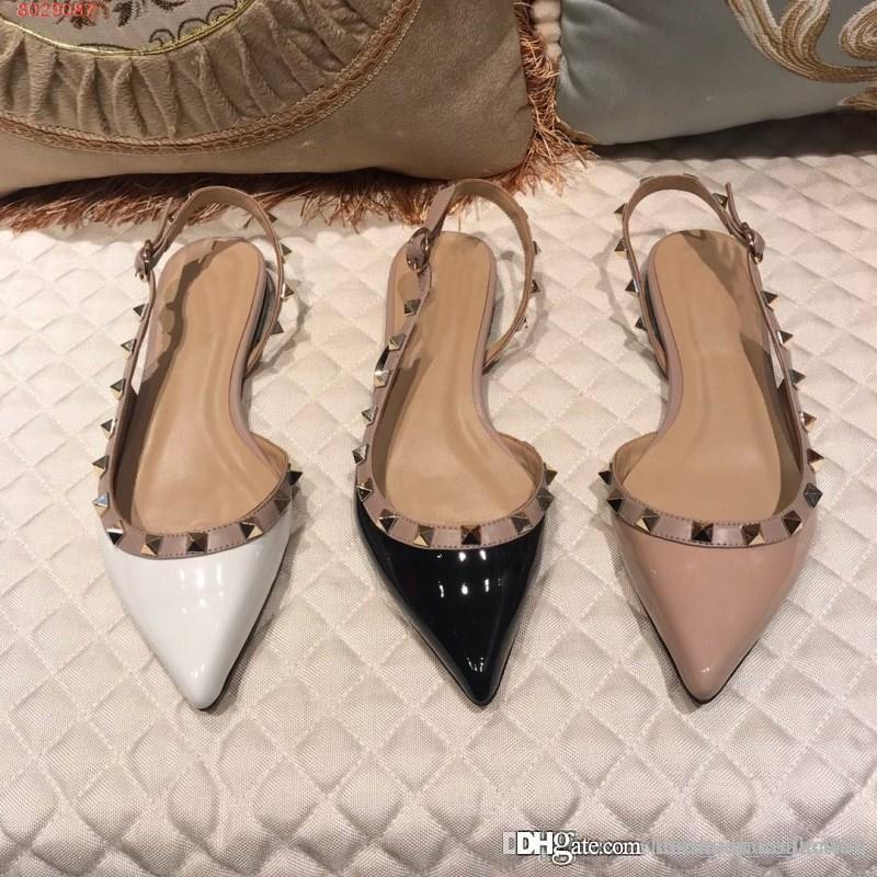 9440e1ed Compre Moda Tendencias Remache Zapatos De Mujer Importados Piel De Vaca  Forro Zapatillas De Piel De Oveja Deslumbrar Deslumbrante Plano De Las  Mujeres A ...