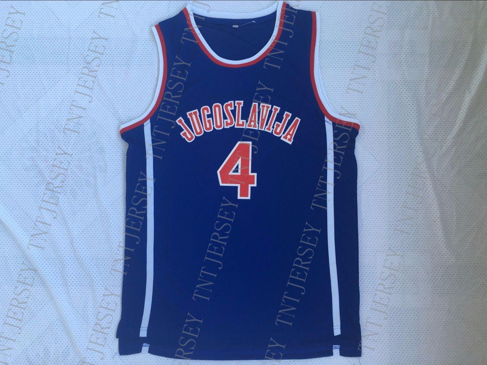 2019 Cheap Custom Drazen Petrovic  4 Jugoslavija Yugoslavia Croatia  Basketball Jersey Stitched Customize Any Number Name MEN WOMEN YOUTH XS 5XL  From ... 2947e5068