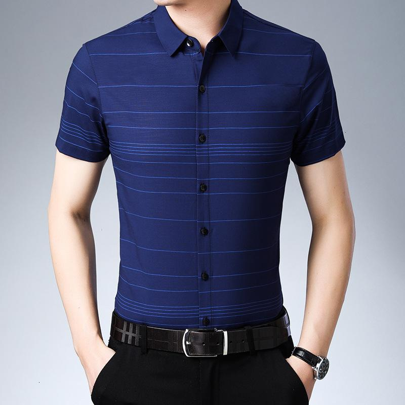 Men short sleeves summer thin cotton youth leisure trend striped shirt, men's clothing cultivating someone's morality