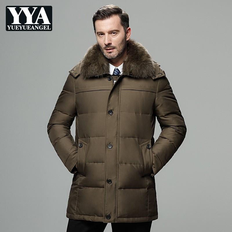 Outwear Plus Casual Größe Parkas Mantel Business Dicke Kapuze Männer Männlichen Mit Pelzkragen 4xl Winter Einreiher Langen Daunenjacke Warme SpMGLqUzV
