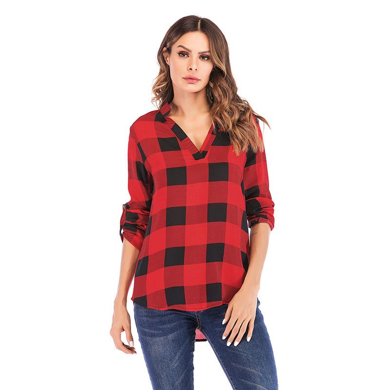 Blusas Compre 5xl Moda 2019 Camisa A Cuello De Cuadros Sueltos Mujer H6d6qZ